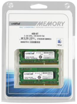 Crucial 4GB (2x2GB) DDR3 1333 MT PC3-10600 SODIMM 204pin for Mac